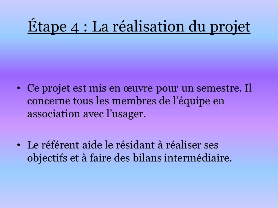 Étape 4 : La réalisation du projet