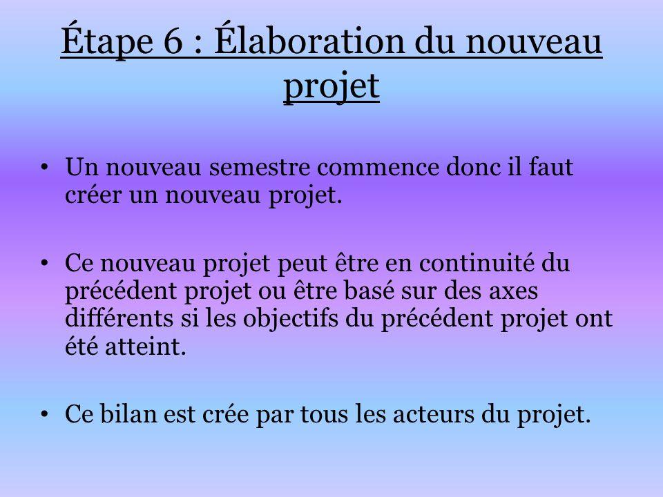 Étape 6 : Élaboration du nouveau projet