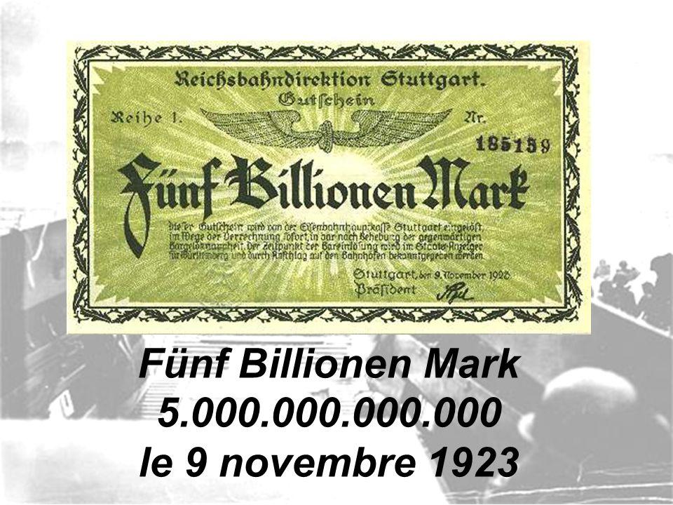 Fünf Billionen Mark 5.000.000.000.000 le 9 novembre 1923
