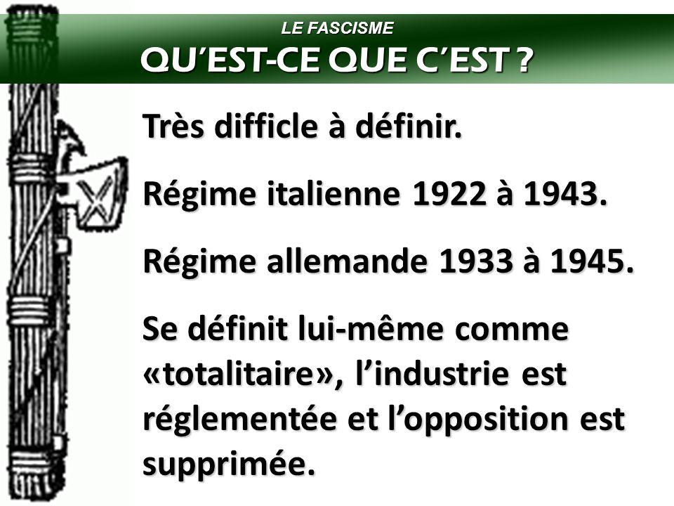 Très difficle à définir. Régime italienne 1922 à 1943.