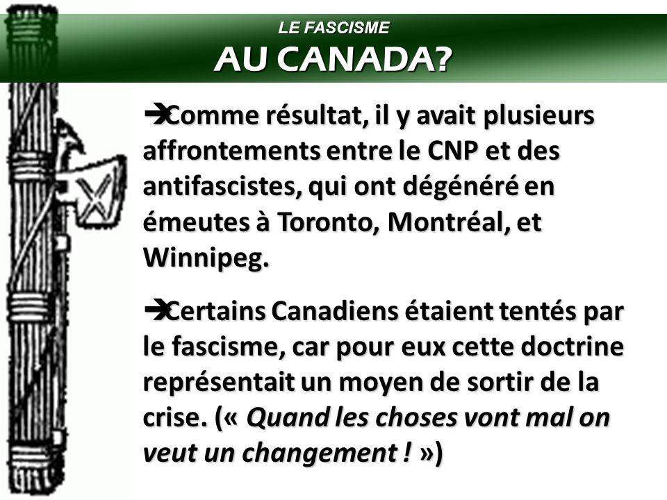 LE FASCISME AU CANADA