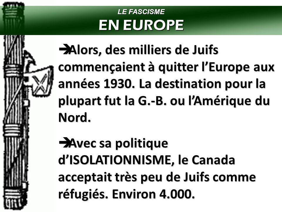 LE FASCISME EN EUROPE.