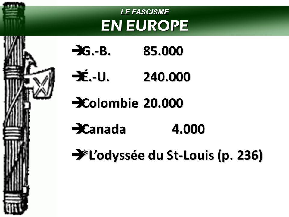 EN EUROPE G.-B. 85.000 É.-U. 240.000 Colombie 20.000 Canada 4.000