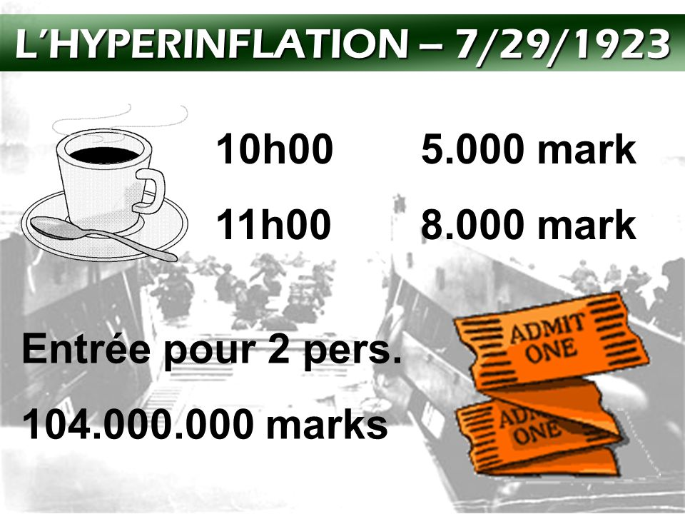 L'HYPERINFLATION – 7/29/1923 10h00 5.000 mark. 11h00 8.000 mark.