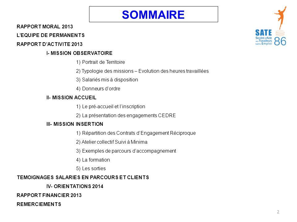 SOMMAIRE RAPPORT MORAL 2013 L'EQUIPE DE PERMANENTS