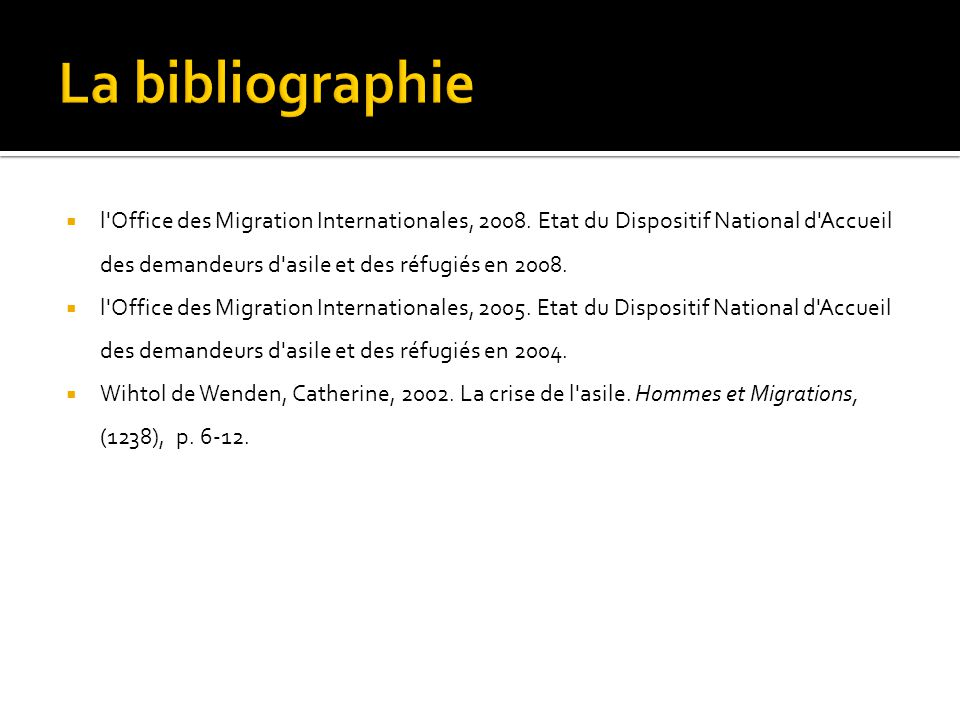 La bibliographie l Office des Migration Internationales, 2008. Etat du Dispositif National d Accueil des demandeurs d asile et des réfugiés en 2008.