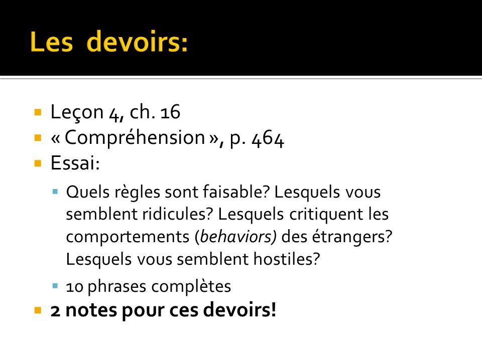 Les devoirs: Leçon 4, ch. 16 « Compréhension », p. 464 Essai: