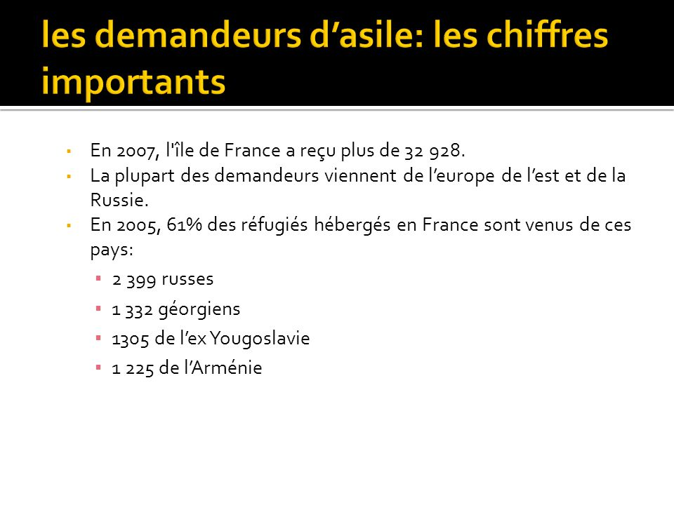 les demandeurs d'asile: les chiffres importants