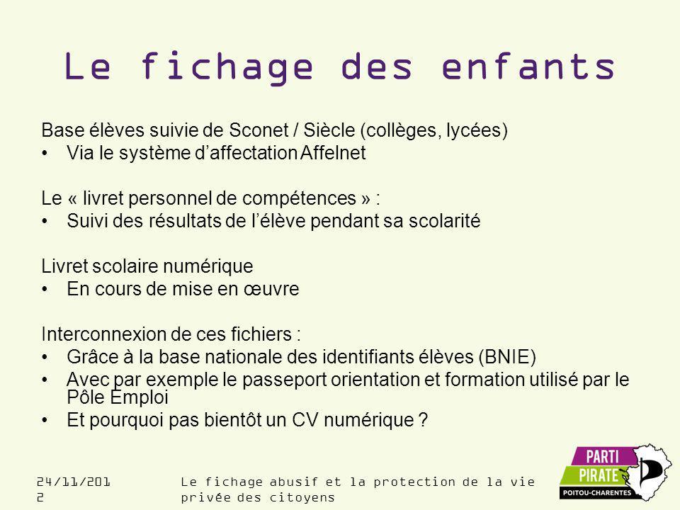 Le fichage des enfants Base élèves suivie de Sconet / Siècle (collèges, lycées) Via le système d'affectation Affelnet.