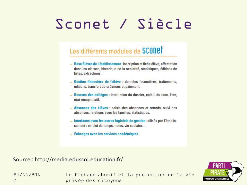 Sconet / Siècle Source : http://media.eduscol.education.fr/