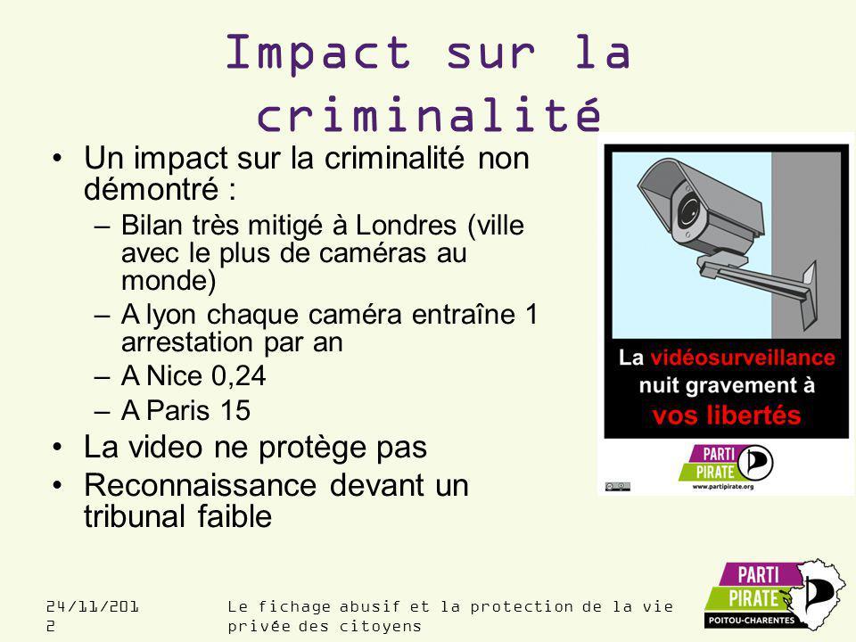 Impact sur la criminalité