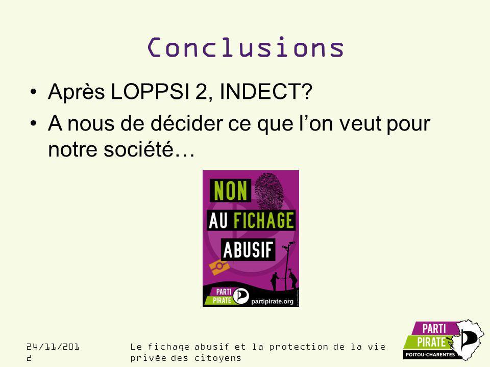Conclusions Après LOPPSI 2, INDECT