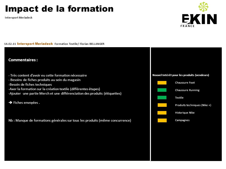 D KIN E Impact de la formation Commentaires :