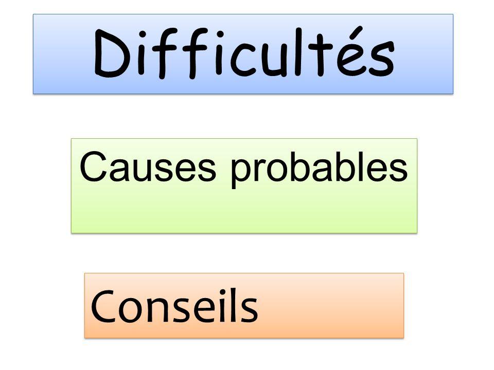 Difficultés Causes probables Conseils