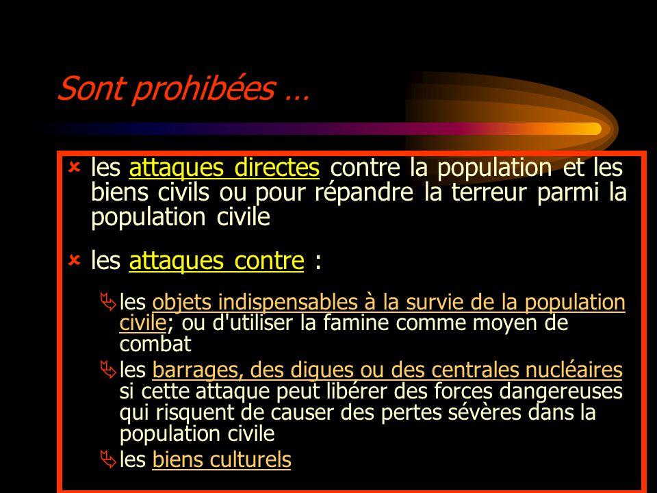 Sont prohibées … les attaques directes contre la population et les biens civils ou pour répandre la terreur parmi la population civile.