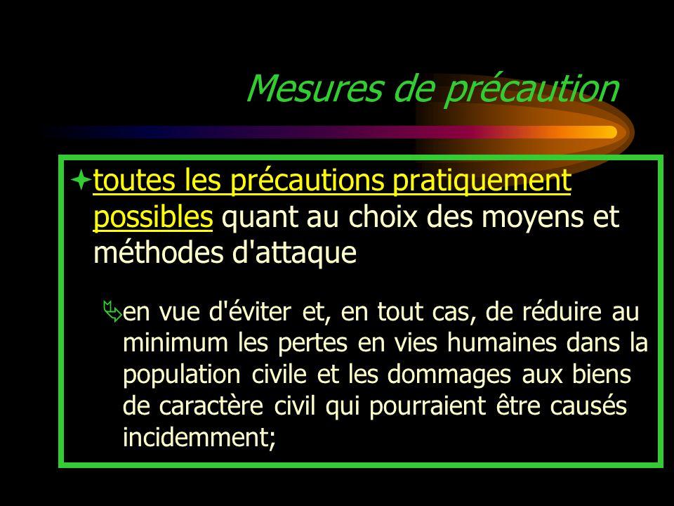 Mesures de précaution toutes les précautions pratiquement possibles quant au choix des moyens et méthodes d attaque.