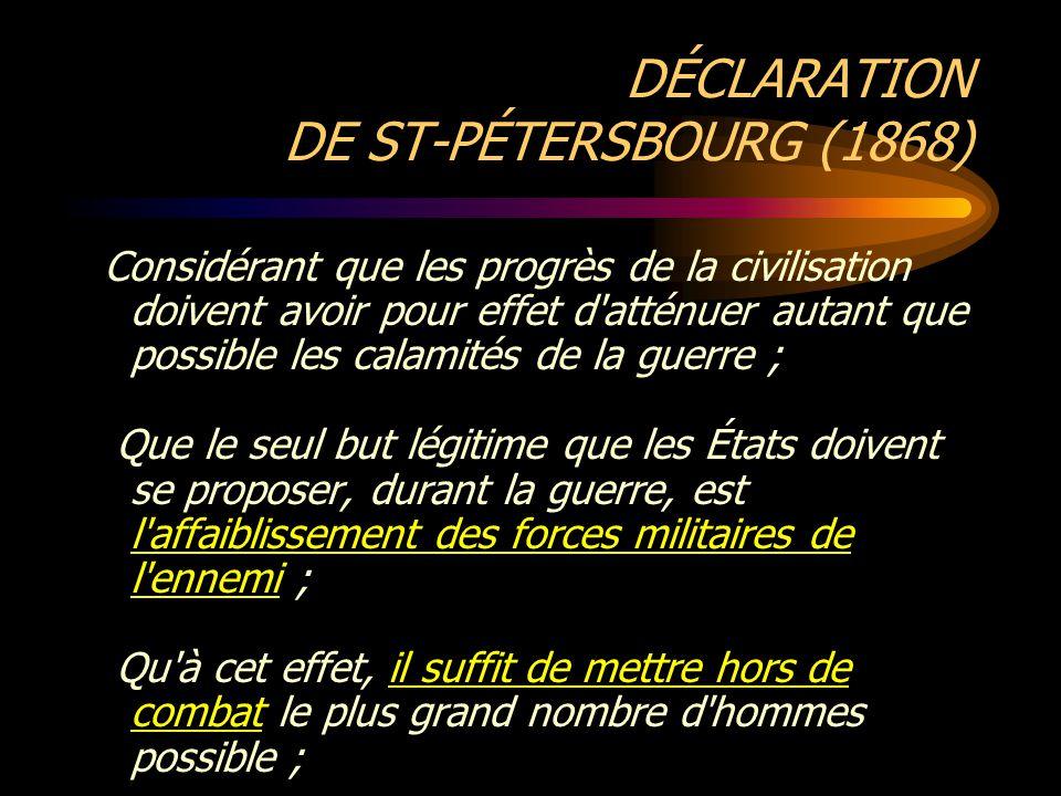 DÉCLARATION DE ST-PÉTERSBOURG (1868)