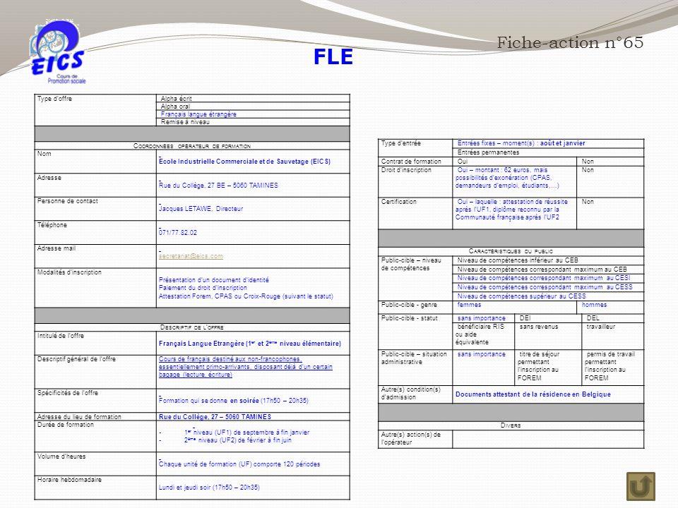 FLE Fiche-action n°65 Type d'offre Alpha écrit Alpha oral