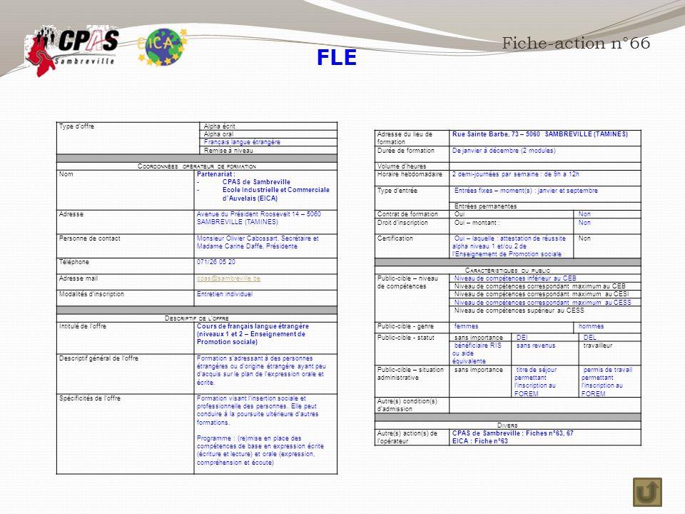 FLE Fiche-action n°66 Type d'offre Alpha écrit Alpha oral