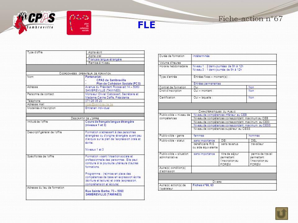 FLE Fiche-action n°67 Type d'offre Alpha écrit Alpha oral
