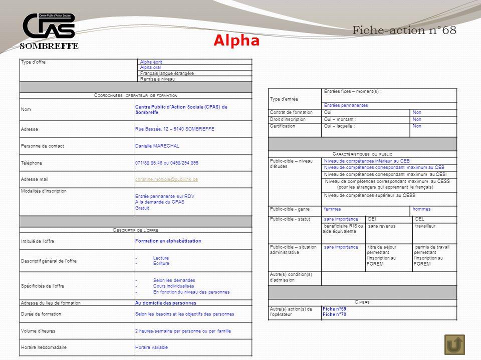 Alpha Fiche-action n°68 Type d'offre Alpha écrit Alpha oral