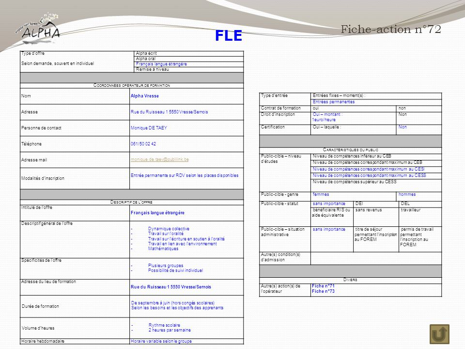 FLE Fiche-action n°72 Type d'offre