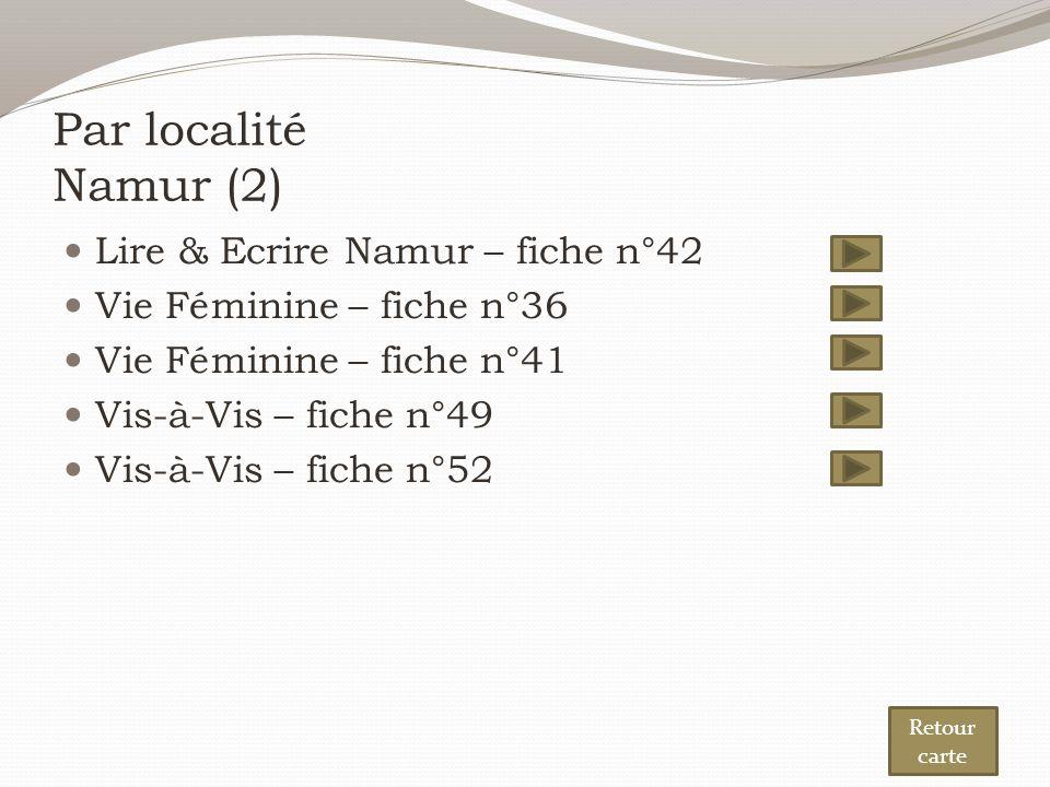 Par localité Namur (2) Lire & Ecrire Namur – fiche n°42