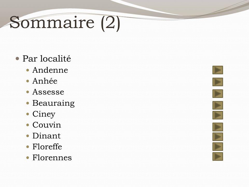Sommaire (2) Par localité Andenne Anhée Assesse Beauraing Ciney Couvin