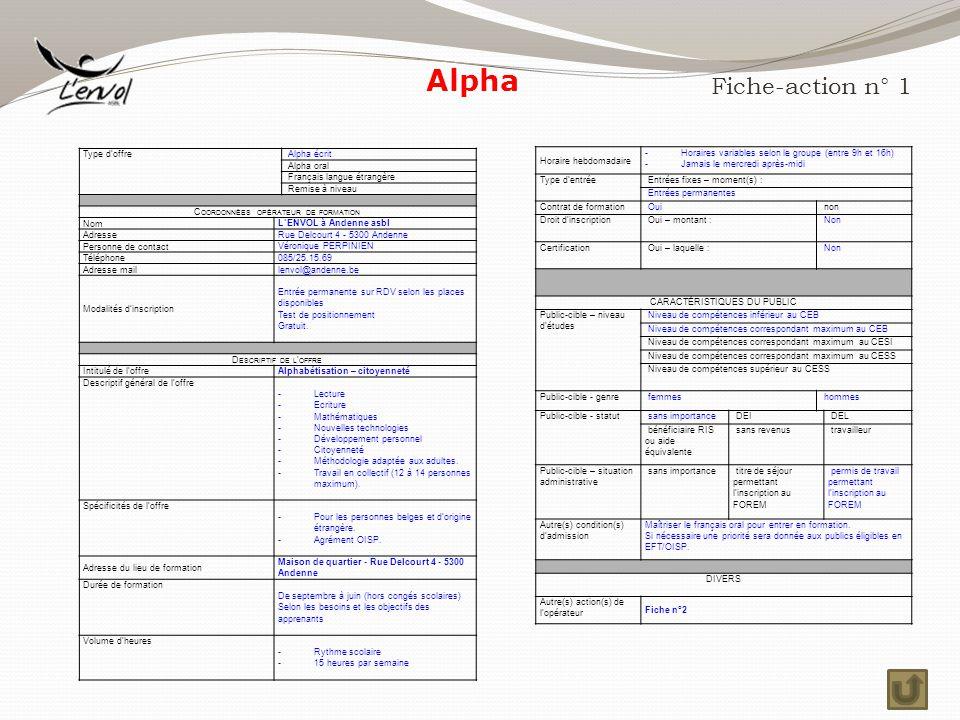 Alpha Fiche-action n° 1 Horaire hebdomadaire