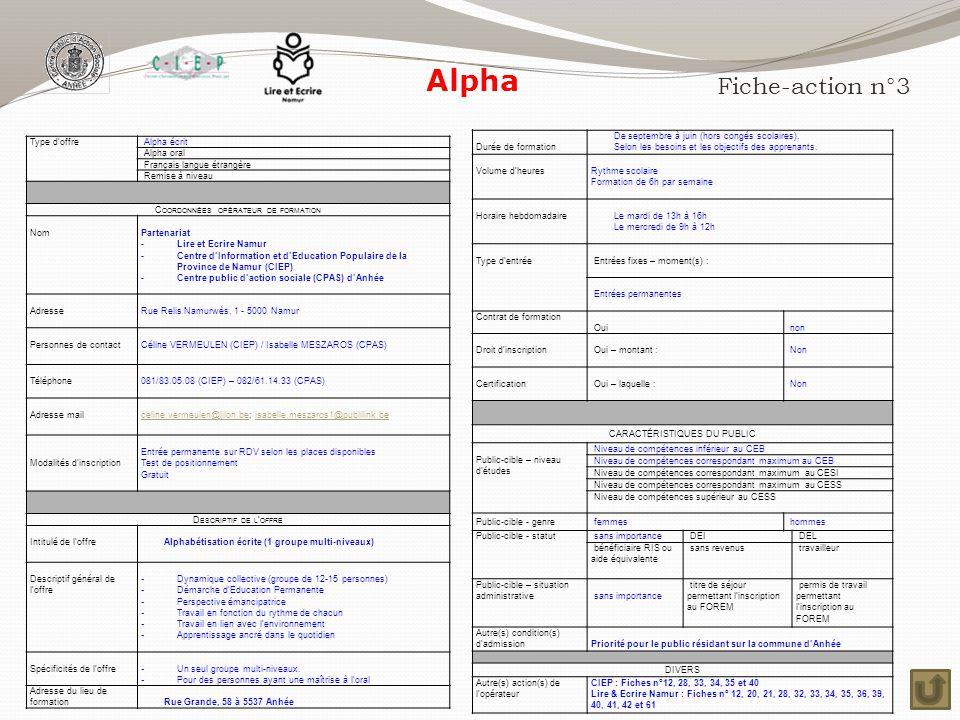 Alpha Fiche-action n°3 Durée de formation