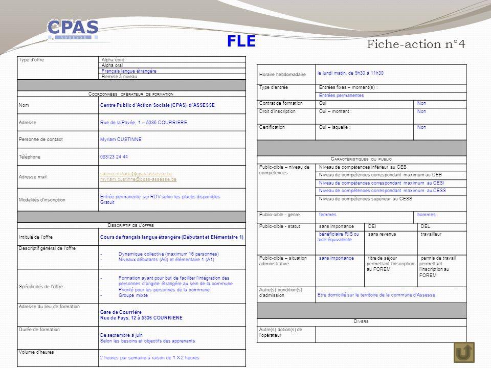 FLE Fiche-action n°4 Type d'offre Alpha écrit Alpha oral
