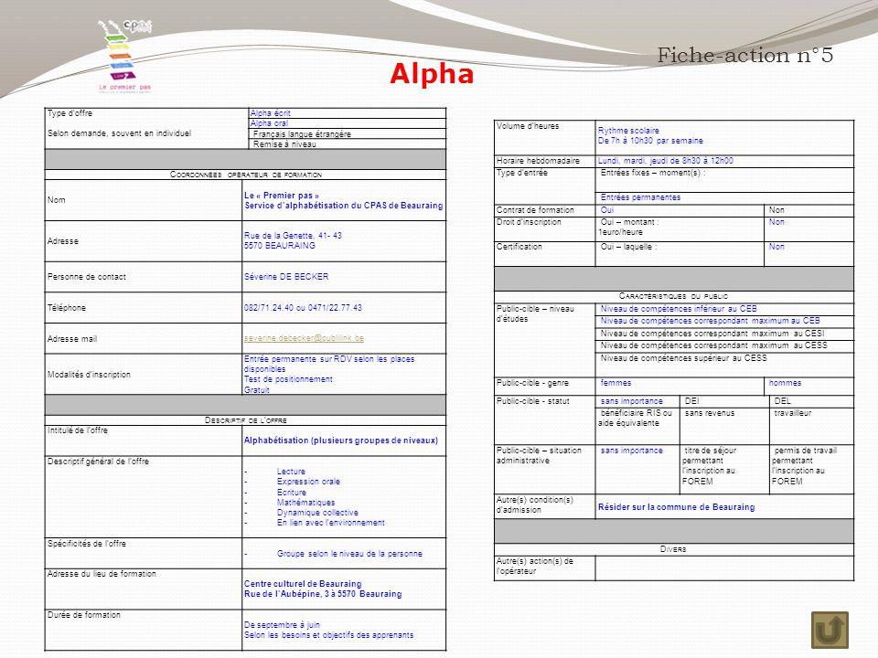 Alpha Fiche-action n°5 Type d'offre