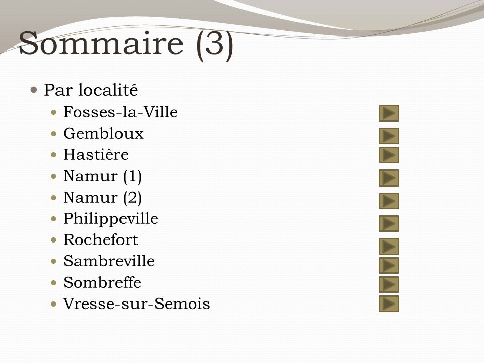 Sommaire (3) Par localité Fosses-la-Ville Gembloux Hastière Namur (1)