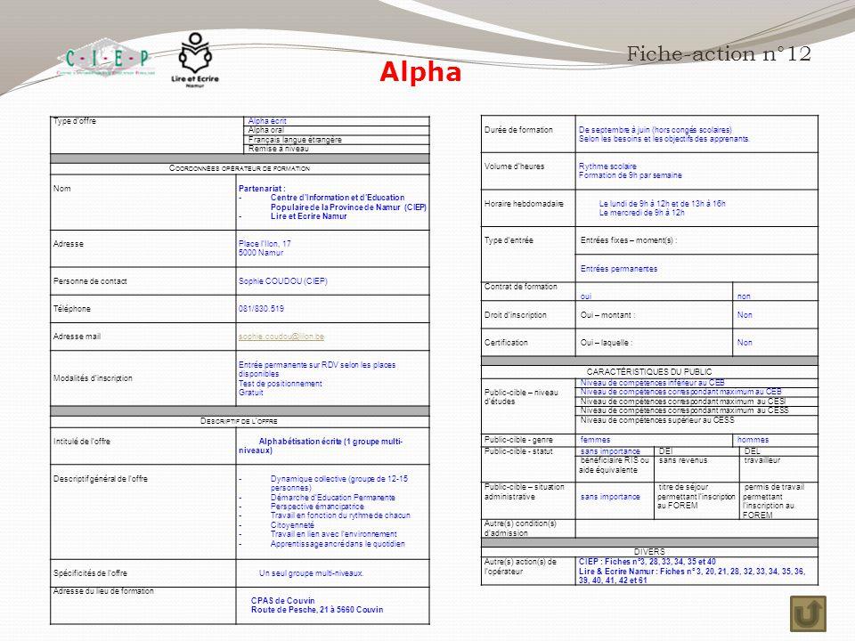Alpha Fiche-action n°12 Durée de formation