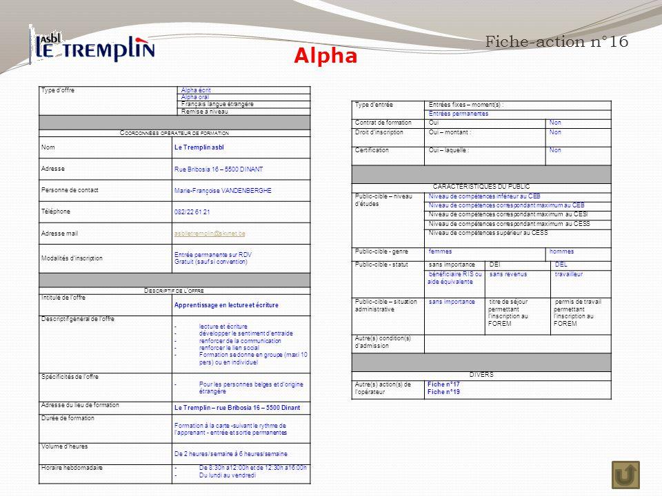 Alpha Fiche-action n°16 Type d'offre Alpha écrit Alpha oral
