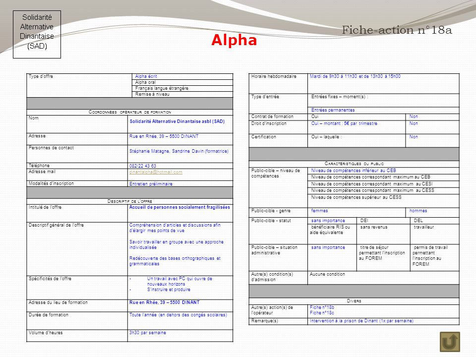 Alpha Fiche-action n°18a Horaire hebdomadaire