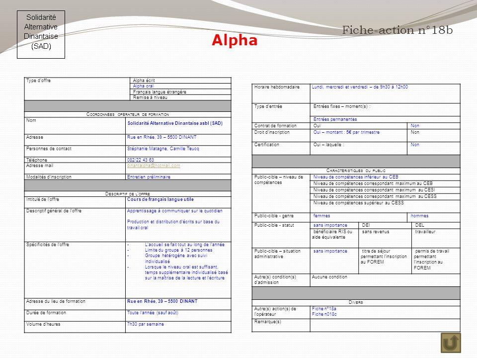 Alpha Fiche-action n°18b Type d'offre Alpha écrit Alpha oral