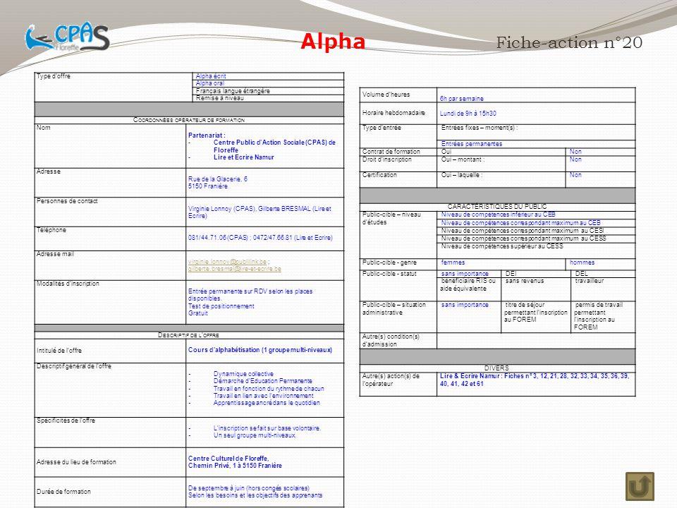 Alpha Fiche-action n°20 Type d'offre Alpha écrit Alpha oral
