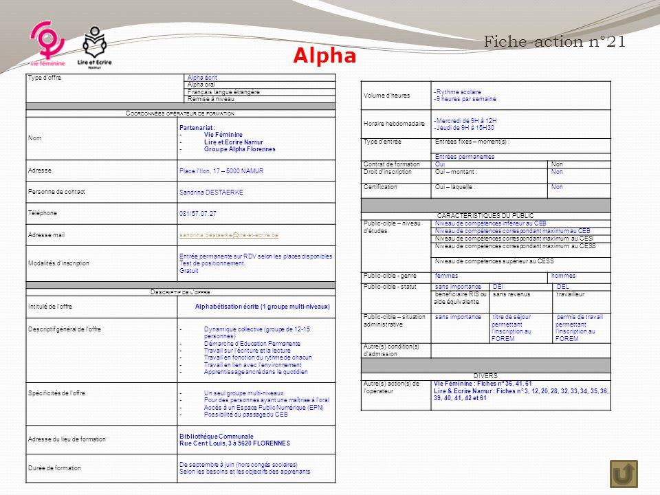 Alpha Fiche-action n°21 Type d'offre Alpha écrit Alpha oral