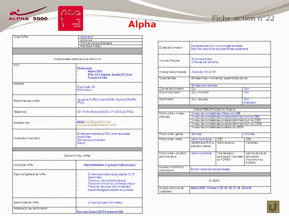 Alpha Fiche-action n°22 Type d'offre Alpha écrit Alpha oral