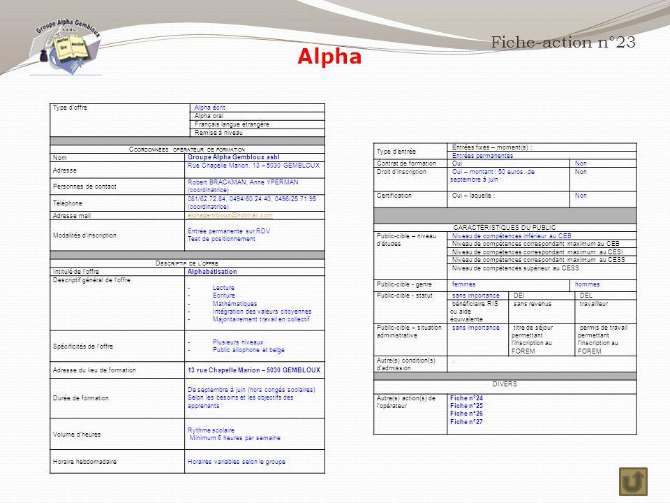 Alpha Fiche-action n°23 Type d'offre Alpha écrit Alpha oral