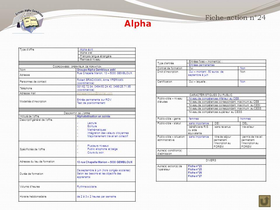 Alpha Fiche-action n°24 Type d'offre Alpha écrit Alpha oral