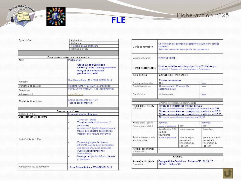 FLE Fiche-action n°25 Durée de formation