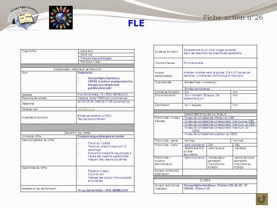 FLE Fiche-action n°26 Durée de formation