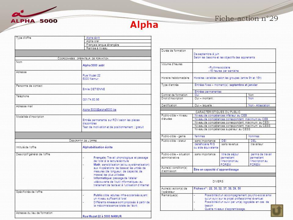 Alpha Fiche-action n°29 Type d'offre Alpha écrit Alpha oral