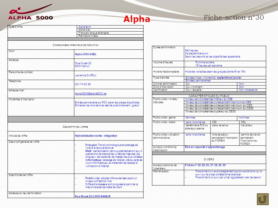 Alpha Fiche-action n°30 Type d'offre Alpha écrit Alpha oral