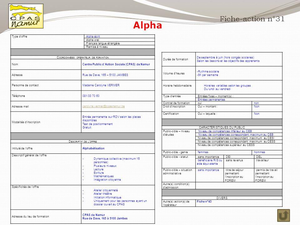Alpha Fiche-action n°31 Type d'offre Alpha écrit Alpha oral