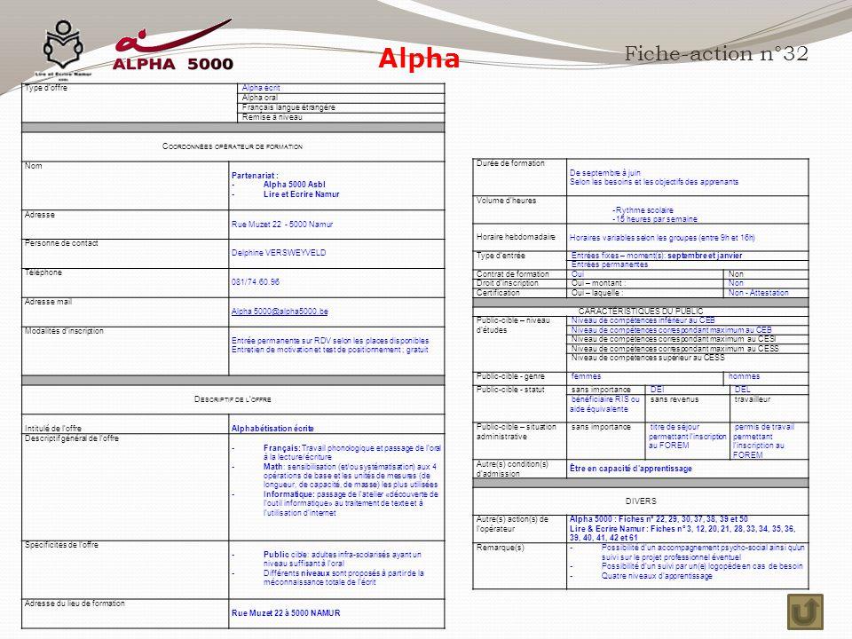 Alpha Fiche-action n°32 Type d'offre Alpha écrit Alpha oral