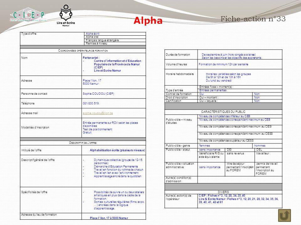 Alpha Fiche-action n°33 Type d'offre Alpha écrit Alpha oral