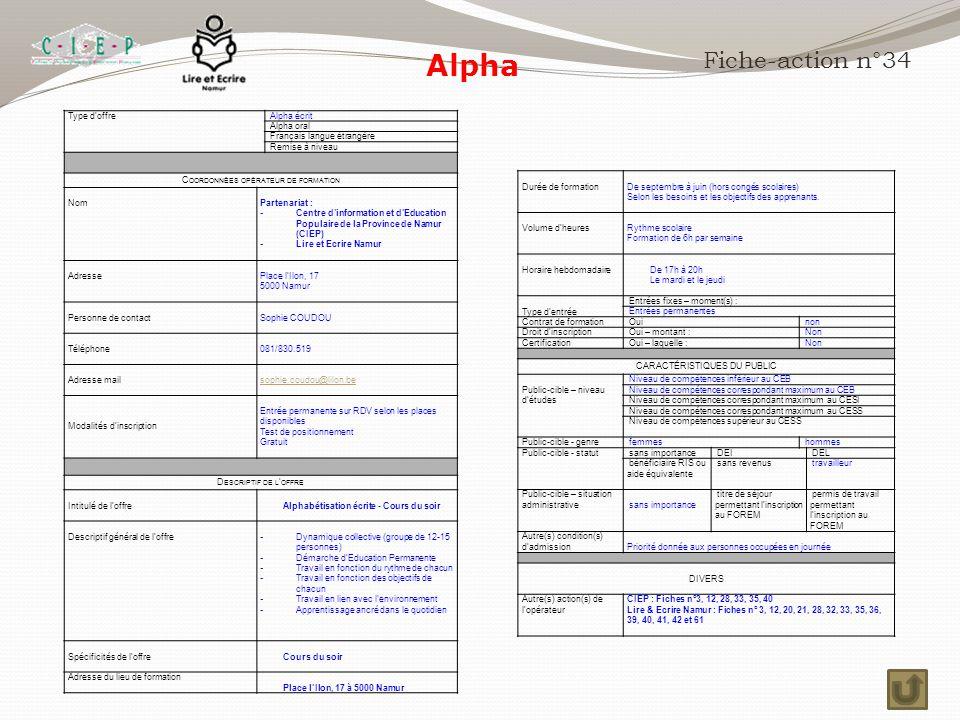Alpha Fiche-action n°34 Type d'offre Alpha écrit Alpha oral